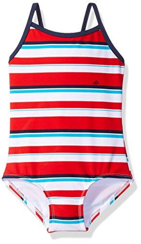Kanu Surf Little Girls' Layla Beach Sport Banded One Piece Swimsuit, Bridget Red Stripe, 6X