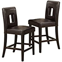 Poundex Modern Dark Brown Faux Leather Counter Height Dining Chair, Set of 2