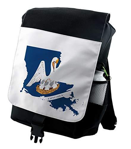 Lunarable Louisiana Backpack, Pelican State Flag Map, Durable All-Purpose Bag