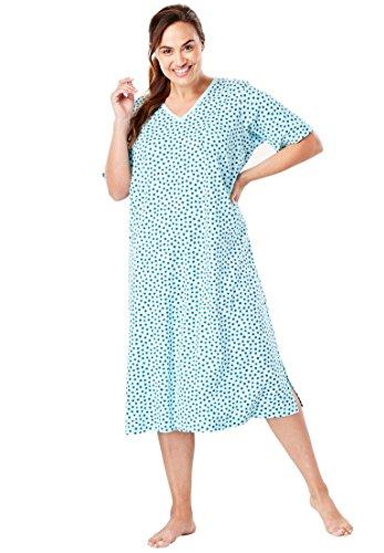 Dreams & Co. Women's Plus Size Long Print Sleepshirt Glacier Aqua Dot,3X/4X -
