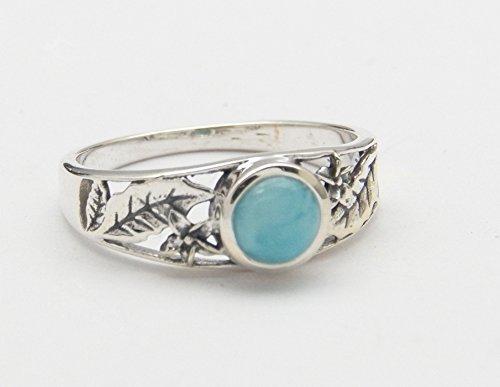 Fundamental Rockhound Products: Larimar Gemstone Sterling Silver Ring Size 6