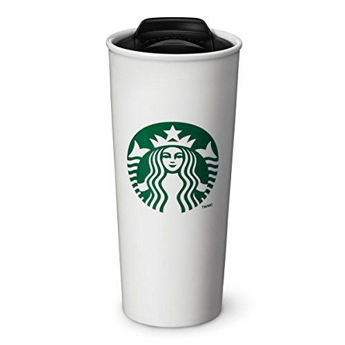 Starbucks Double Wall Ceramic Traveler Coffee Mug, 16 fl oz