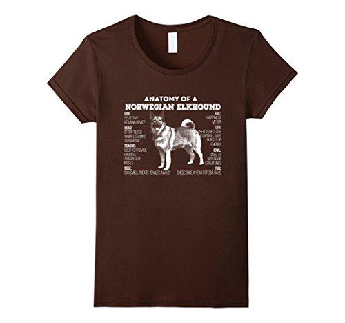 Womens Anatomy of a Norwegian Buhund T-shirt Medium Brown