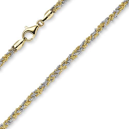 3mm Imagination-Bracelet Bracelet Chaîne bijou bracelet en 585or bicolore blanc/jaune, 19cm