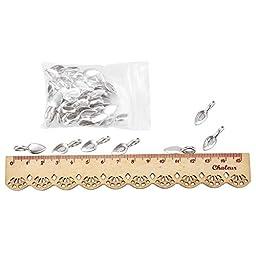 Pandahall 50pcs Alloy Glue-on Flat Pad Bails, Lead Free & Cadmium Free, Antique Silver, Leaf, Hole: 4x6mm