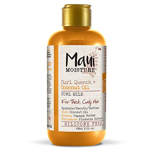 Maui Moisture Curl Quench + Coconut Oil Curl Milk, 8 Ounce, Creamy Silicone Free Leave-In Helps Hydrate, Detangle and Defrizz Hair, Good for Thick, Curly Hair, Helps Add Definition to Curls