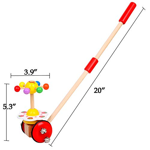O-Toys Baby Walker Wooden Push and Pull Walking Toy Push Along Strawberry with Wheel for Boys Girls Infant Kids 18 Months and Up by O-Toys (Image #1)
