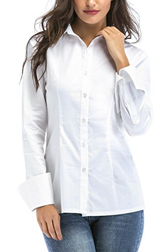 SUNNOW Women Simple White Collared Long Sleeves Blouse with Button (XL, White) Button Down Tailored Dress Shirt