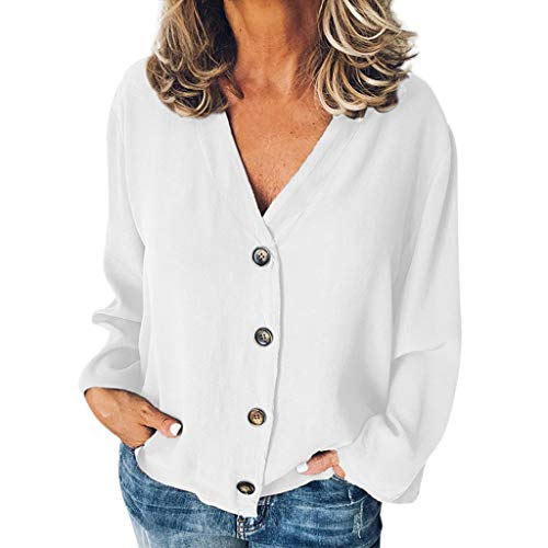 Women Casual Solid Long Sleeve V-Neck Buttons Opening Loose Shirt Tops Blouse Chiffon Cardigans Fashion T-Shirt