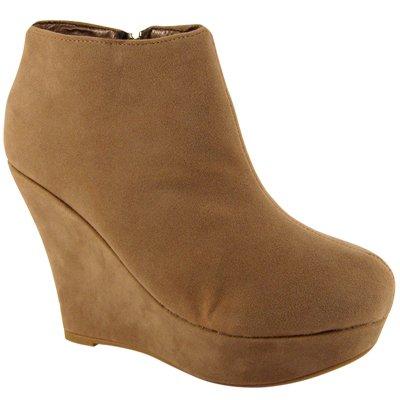 Zapatos para Mujeres de color topo tacón de cuña Plataforma Botines Zapatos: Amazon.es: Zapatos y complementos