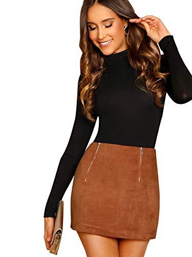 (Floerns Women's Zip Front High Waist Bodycon Mini Skirt Brown L)