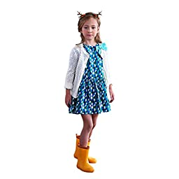 BELE Girls Casual Puff Sleeve Polka Dot Princess Dress with Bowknot
