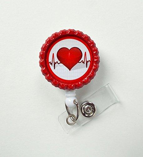 Heartbeat Bottle Cap Badge - Nursing Badge Holder - RN Badge Reel - Nurse Name Badge - Nurses Badge - Cute ID Badge Reel - Nursing Badge
