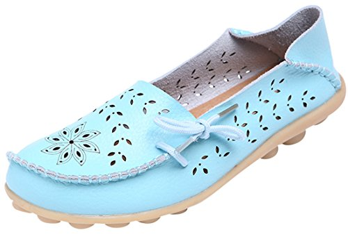 UJoowalk Frauen Leder Rindsleder aushöhlen Casual flache Fahr Schuhe Slipper Himmelblau