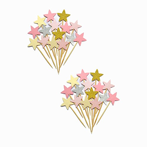 Cake Cupcake Picks Toppers Liners 40 PCS Stars Colorful Decoration Bakery