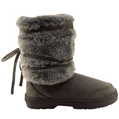 Amazon.com | Womens Short Faux Fur Lined Thick Sole Winter