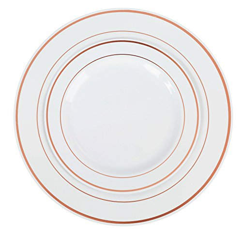 Exquisite Reflective Plastic Plates-60 Peices Premium Heavyweight Plastic Dinnerware (30-10.25 Dinner and 30-7.5 Salad/Dinner) Wedding Like China (Rose Gold)