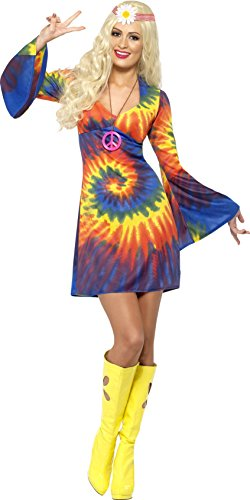 Smiffy's Women's 1960's Tie Dye Costume, Dress, 60's Groovy Baby, Serious Fun, Size 10-12, (1960 Fancy Dress Costumes)