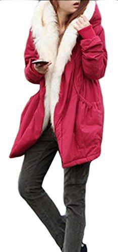 Fur Hooded Red Sleeve amp;S Faux amp;W Coat Women's Long Warm Jacket M CTSA0wq0