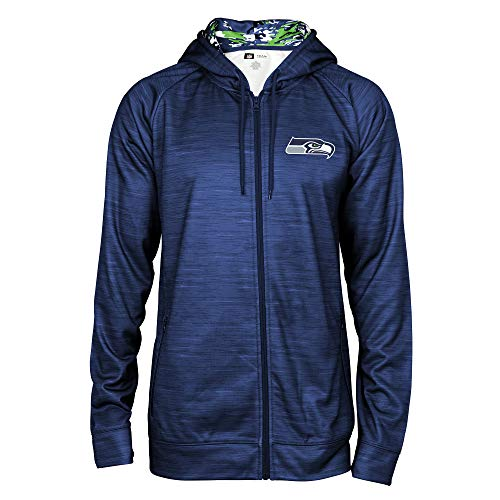 (Zubaz NFL Seattle Seahawks Male Full Zip Camo Space Dye Hoodie, Large, Navy)