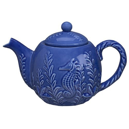 """Seahorse Designed Teapot - Blue - 6.5"""" Tall for sale  Delivered anywhere in USA"""