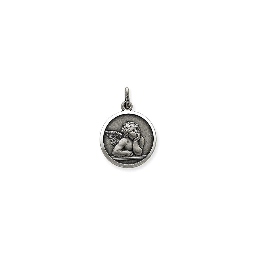 Sterling Silver Antiqued Raphael Angel Charm Pendant (1.02 in x 0.79 in)