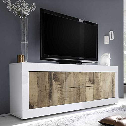 TousmesMuebles - Mueble de TV con 2 Puertas y 2 cajones de Madera - Matera - 210 x 43 x 66 cm - Color Blanco: Amazon.es: Hogar