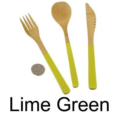 2x - 8  Lime Green Bamboo Dinner Utensil Sets