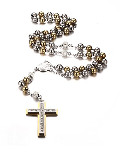 - Mealguet Jewelry Stainless Steel Two-Tone Beads Big Prayer Cross Pendant Christian Catholic Long Rosary Necklace