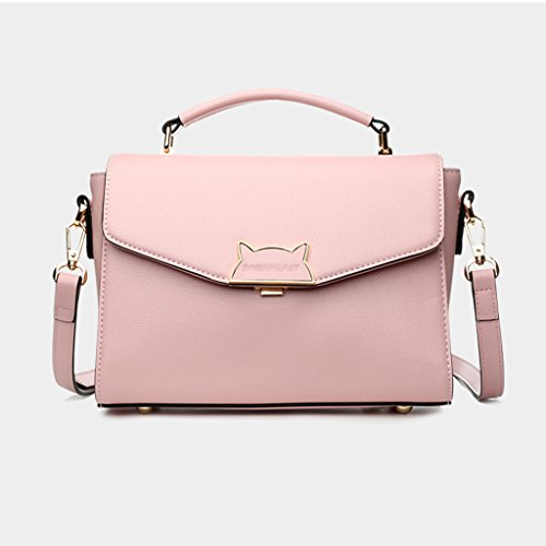 JIUTE Handbag Bag PU Color Leather Version Pink Shoulder Black Ms Korean Messenger Diagonal Shoulder Ms ABWfrAn