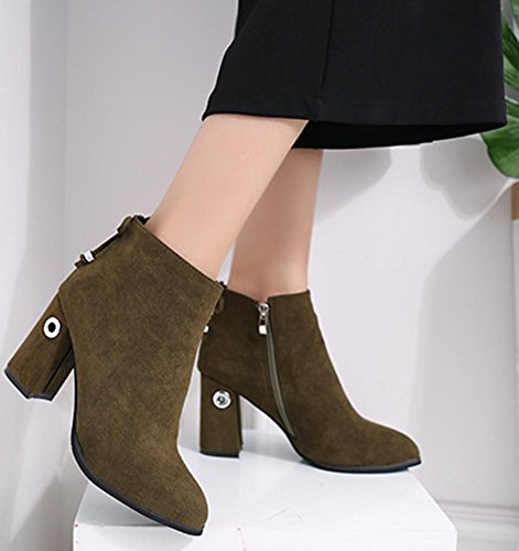 Easemax Women's Comfy Faux Suede Zip Up Chunky High Heels Pointed Toe Ankle High Martin Boots Green x6wHKff