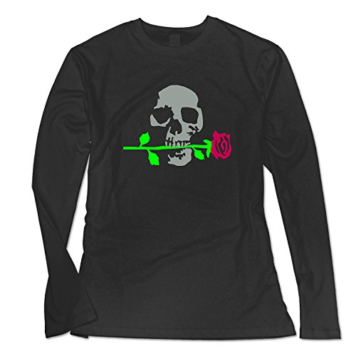 Engtaiquji Death Rose 092011 B 3c Custom Women's Blank Long Sleeve T-Shirt Size XXL Color Black (Halloween Remix Playlist)