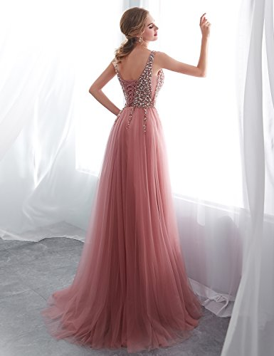 Prinzessin Abendkleid Damen Lang Ballkleid Abschlusskleid Bandeau Tüll 30651 Dunkelrosa SQS16422 Clearbridal qw0PI7I