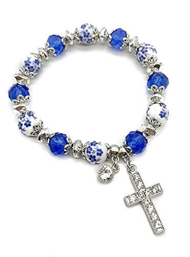 Nazareth Store Religious Cross Bracelet Christian Classic Beaded Bangle with Blue Crystal Beads Sacred Gift for Teen Girls Jewelry for Women & Men