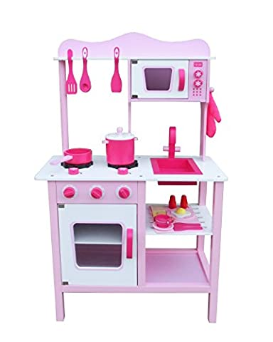 Vintage Kids Wooden Kitchen Toy Pretend Cooking Kids Children Role Play Set with 15pcs Accessories by Oye Hoye - Pink