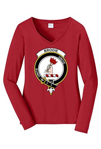 Tenacitee Women's Scottish Clan Crest Badge Brodie Long Sleeve V Neck T-Shirt, X-Large, Cardinal Red ()