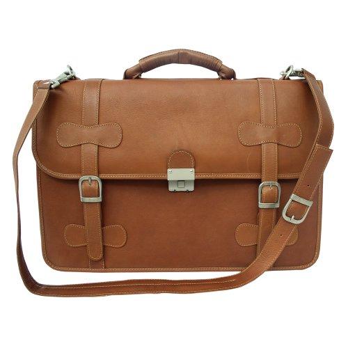 Flap Over Bag Portfolio - Piel Leather XXL Flap-Over Portfolio, Saddle, One Size