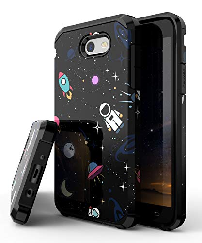 PBRO Galaxy J7 2017 Case,Cute Astronaut Case Dual Layer Heavy Duty Plastic TPU Heavy Duty Protective Anti-Scratch Shockproof for Samsung J7 Sky Pro/J7 Perx/J7 V/ J7 Prime Space/Black