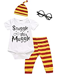 3Pcs/Set Baby Boy Girl Infant Snuggle This Muggle Rompers