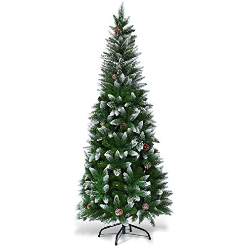 Goplus Artificial Pencil Christmas Tree, Snow Flocked with Pine Cones and Metal Stand, for Xmas Indoor and Outdoor Décor (5ft) (Trees Flocked Xmas)