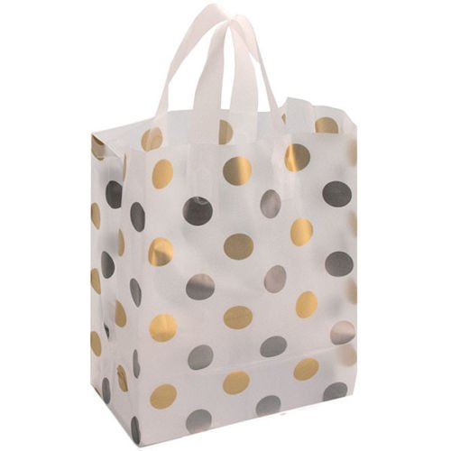 Case of 250 New Retails Polka Dot Silver/Gold Frosted Bag 8x5x10 by Frosted Bag