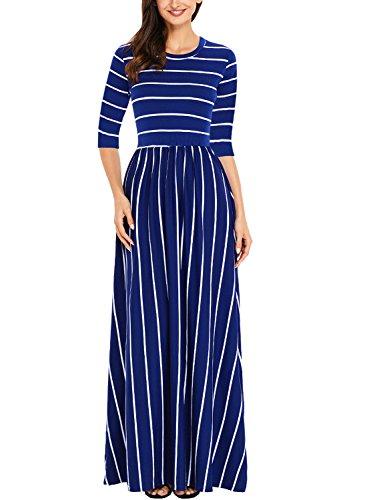 (Women 3/4 Sleeve Elastic Waist Loose Long Dress Casual Striped Round Neck - Maxi Long Dress Side)