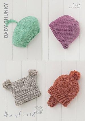 db1481f67505 Sirdar Hayfield Baby Chunky Knitting Pattern - 4597 Hats