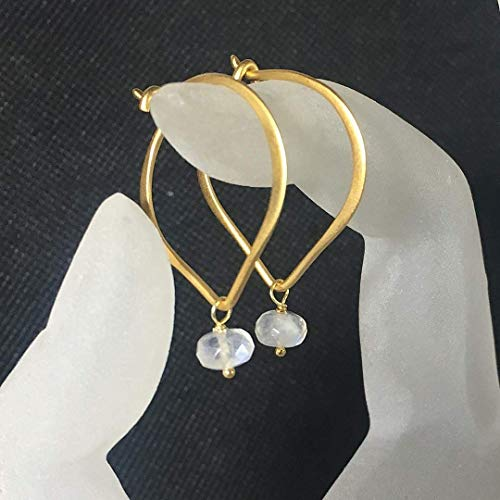 Moonstone Gold Hoop Ear Wires, Vermeil Lotus Petal Bead Gemstone Earrings
