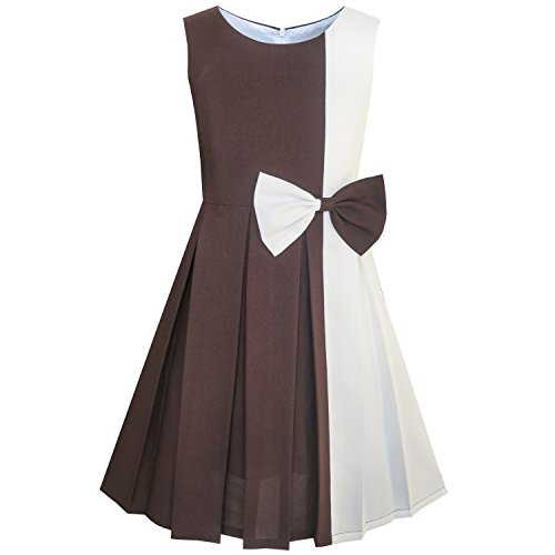 Sunny Fashion Girls Dress Color Block Contrast Bow Tie Everyday Party Size 10