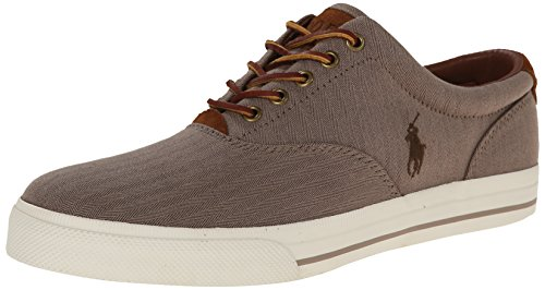 Polo Ralph Lauren Men's Vaughn Fashion Sneaker, Dark Khaki, 9.5 D US - Polo Sport Shoes