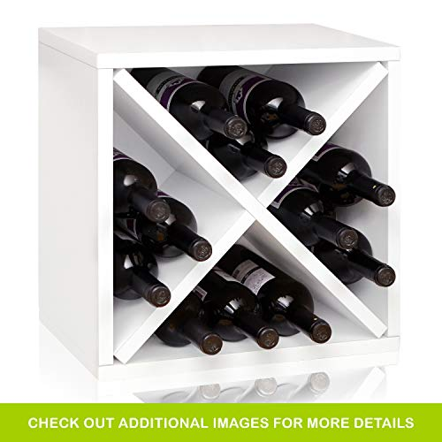 Way Basics Stackable 12-Bottle Tabletop Wine Rack Cube Storage, White