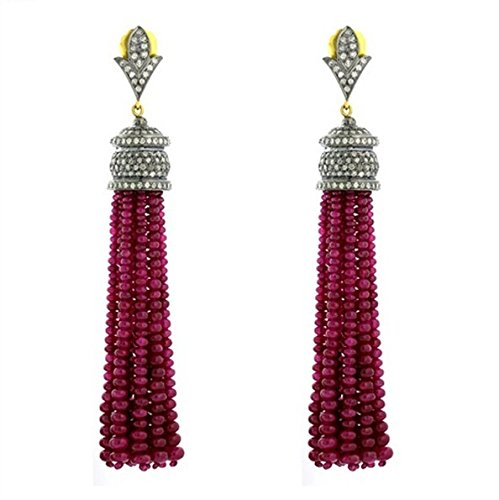 (Chanvanworld Chandelier Ruby Bead Tassel Earrings Rose Cut Natural Diamond Sterling Silver Oxidized & Gold Finish Party Jewelry)