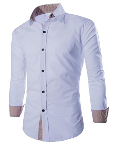 Fensajomon-Mens-Solid-Cotton-Long-Sleeve-Slim-Fit-Button-Up-Office-Dress-Shirt-Top
