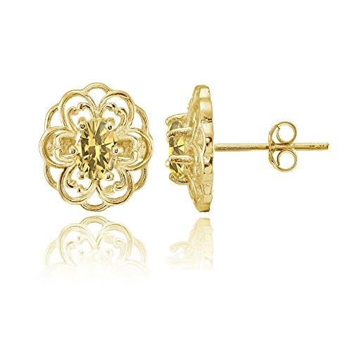 Over Silver Gold Stud (Yellow Gold over Sterling Silver Citrine Filigree Flower Stud Earrings)